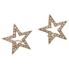 Modern Diamond Open Star 14 Karat Yellow Gold Leverback Earrings