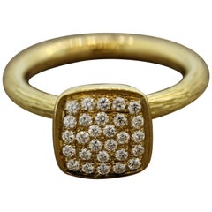 Modern Diamond Pave Gold Ring