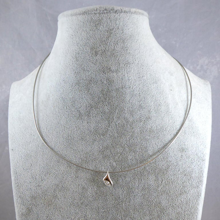 Modern Diamond Pendant, 0.30 Carat Marquise Cut Set in Platinum In Good Condition For Sale In Yorkshire, West Yorkshire