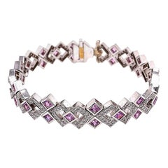 Modern Diamond Pink Sapphire Geometric Gold Bracelet