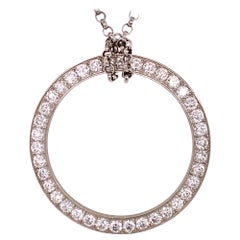 Modern Diamond Platinum Circle of Life Pendant Necklace