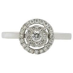 Modern Diamond Ring Art Deco Inspired Halo Cluster 18 Karat White Gold