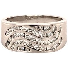 Modern Diamond Ring in 18 Karat White Gold