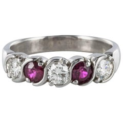 Modern Diamond Ruby 18 Karat White Gold Band Ring