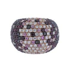 Modern Diamond Ruby Sapphire Gold Dome Ring