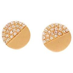 Modern Diamond Studs with .13 Carat Diamond Weight and 14K Brushed Yellow Gold