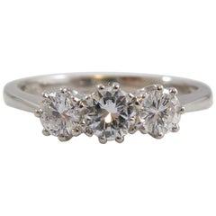 Modern Diamond Three-Stone Ring Set in Platinum, Trilogy Design