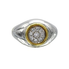 Modern Diamond White and Yellow Gold Ring
