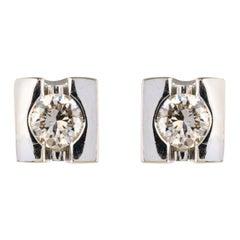 Modern Diamonds 18 Karat White Gold Stud Earrings