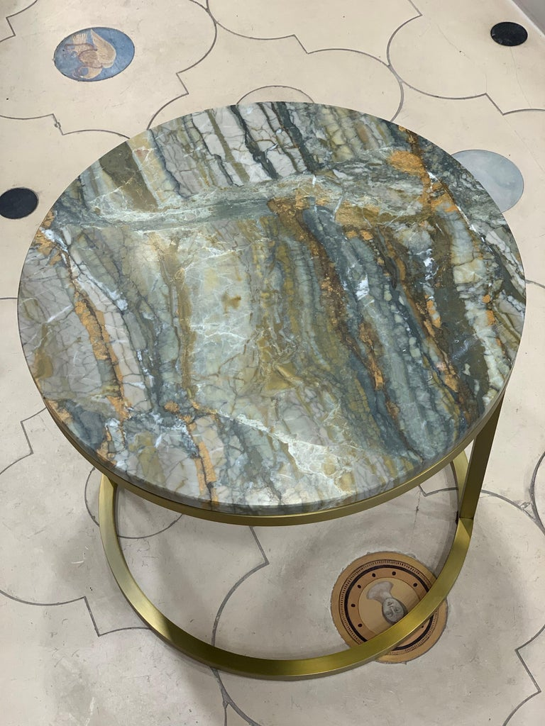 British Modern Diana Round Coffee Table in Brass Tinted and Strati Di Pietra Marble For Sale