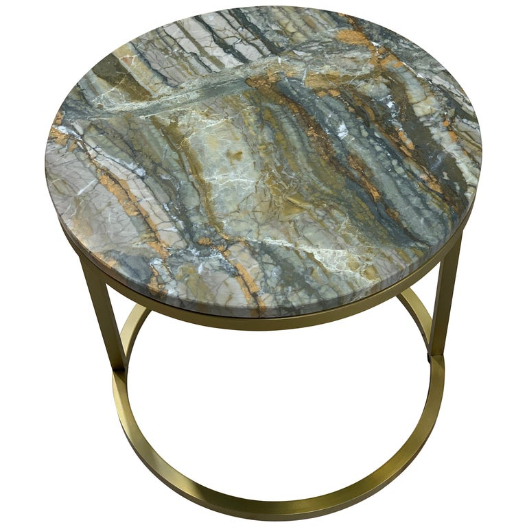 Modern Diana Round Coffee Table in Brass Tinted and Strati Di Pietra Marble For Sale