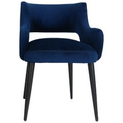 Modern Dining Chair with Sloping Arms and Relaxed Pitch