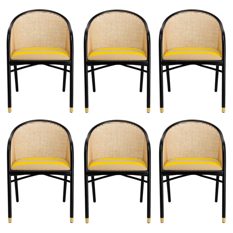 Modern Dining Chairs Set of 6, Black Lacquer/Natural Cane For Sale