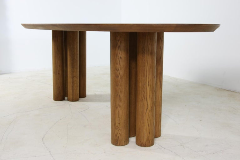 Modern Dining Room Oval Table Solid Oak, Contemporary Nathan Lindberg Pedestal B 10