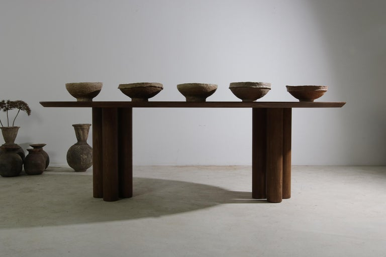 Modern Dining Room Oval Table Solid Oak, Contemporary Nathan Lindberg Pedestal B 11