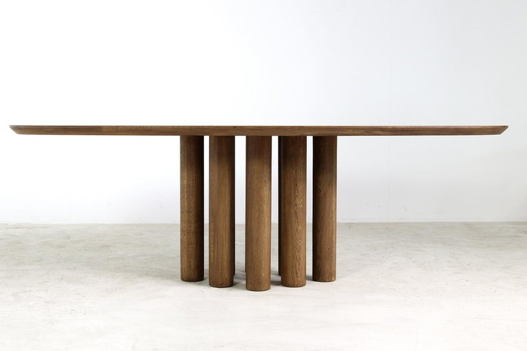 Modern Dining Room Oval Table Solid Oak, Contemporary Nathan Lindberg Pedestal B 13