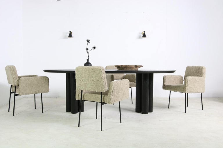 Modern Dining Room Oval Table Solid Oak, Contemporary Nathan Lindberg Pedestal B 14