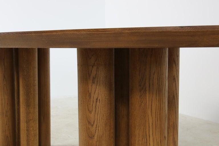 German Modern Dining Room Oval Table Solid Oak, Contemporary Nathan Lindberg Pedestal B