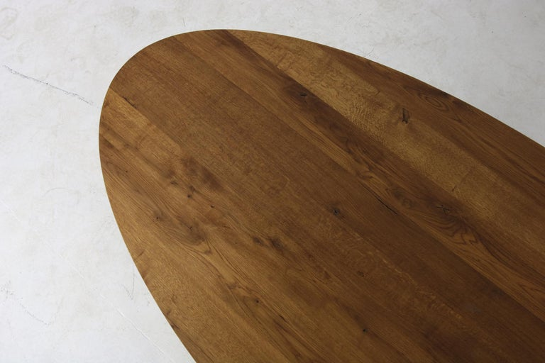 Modern Dining Room Oval Table Solid Oak, Contemporary Nathan Lindberg Pedestal B 1