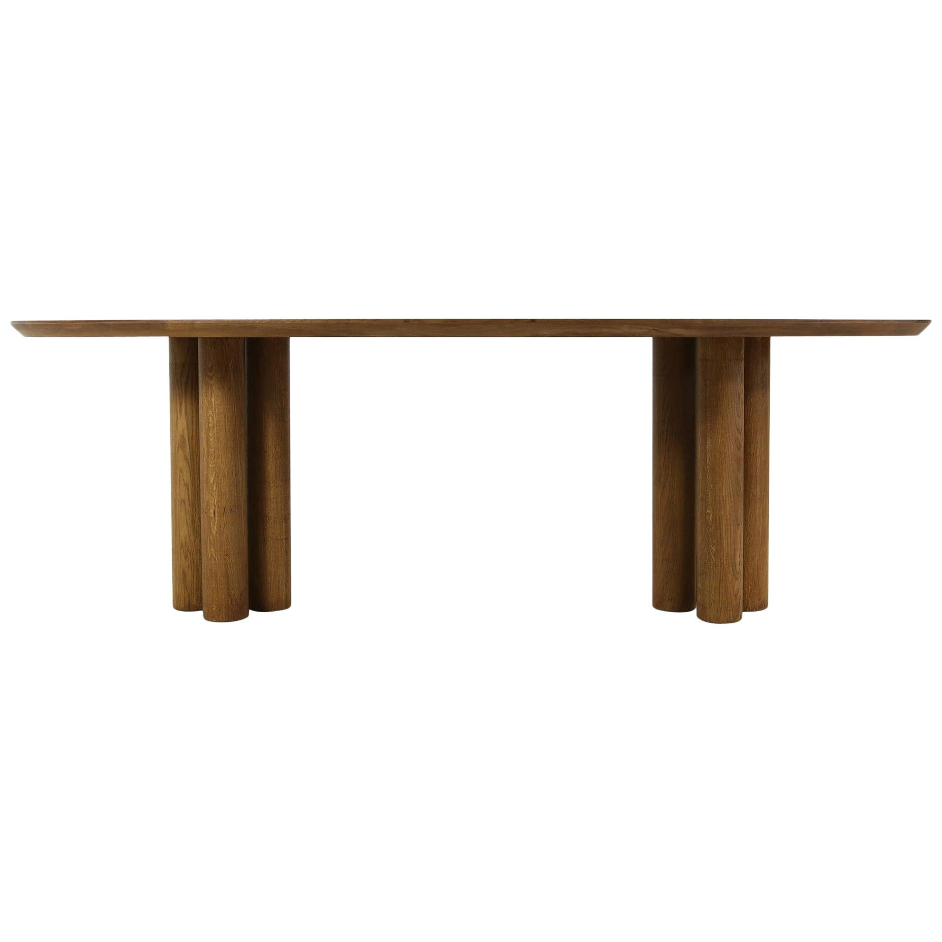 Modern Dining Room Oval Table Solid Oak, Contemporary Nathan Lindberg Pedestal B