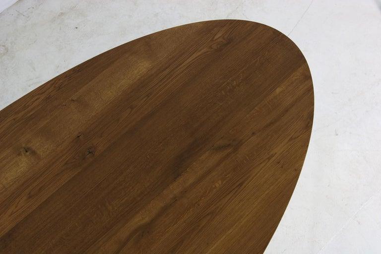 Wood Modern Dining Room Oval Table Solid Oak, Contemporary Nathan Lindberg Pedestal C