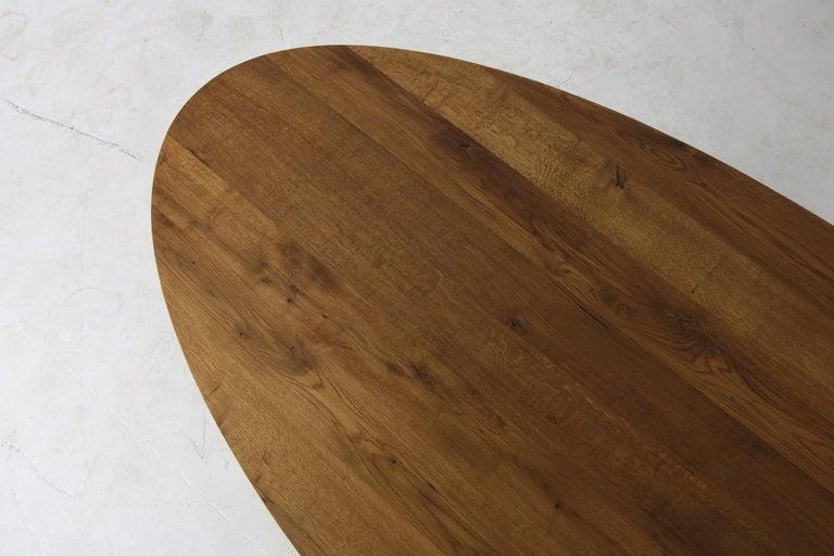 Modern Dining Room Oval Table Solid Oak, Contemporary Nathan Lindberg Pedestal C 2