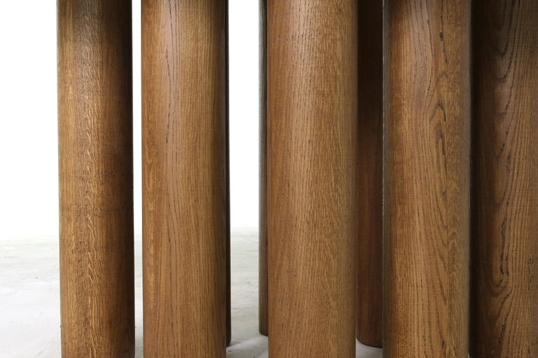 Modern Dining Room Oval Table Solid Oak, Contemporary Nathan Lindberg Pedestal C 3