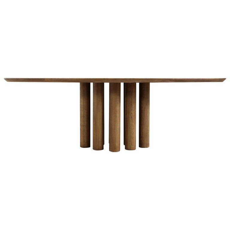 Modern Dining Room Oval Table Solid Oak, Contemporary Nathan Lindberg Pedestal C