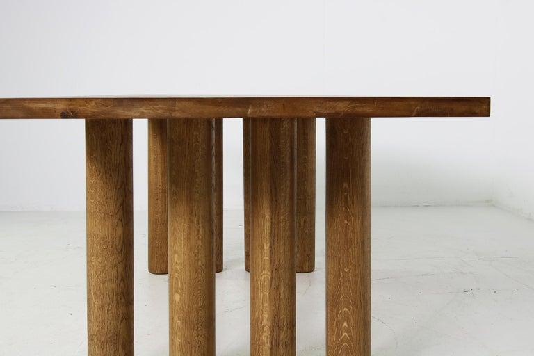 German Modern Dining Room Table Solid Oak, Contemporary Nathan Lindberg Pedestal D For Sale