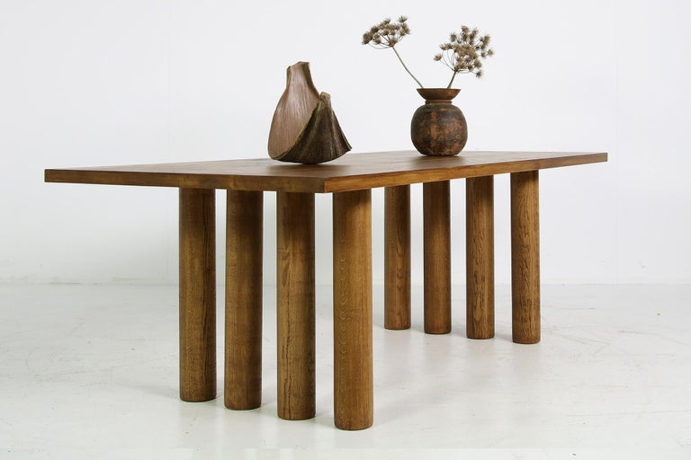 Modern Dining Room Table Solid Oak, Contemporary Nathan Lindberg Pedestal D In Good Condition For Sale In Hamminkeln, DE