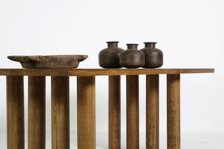 Wood Modern Dining Room Table Solid Oak, Contemporary Nathan Lindberg Pedestal D For Sale