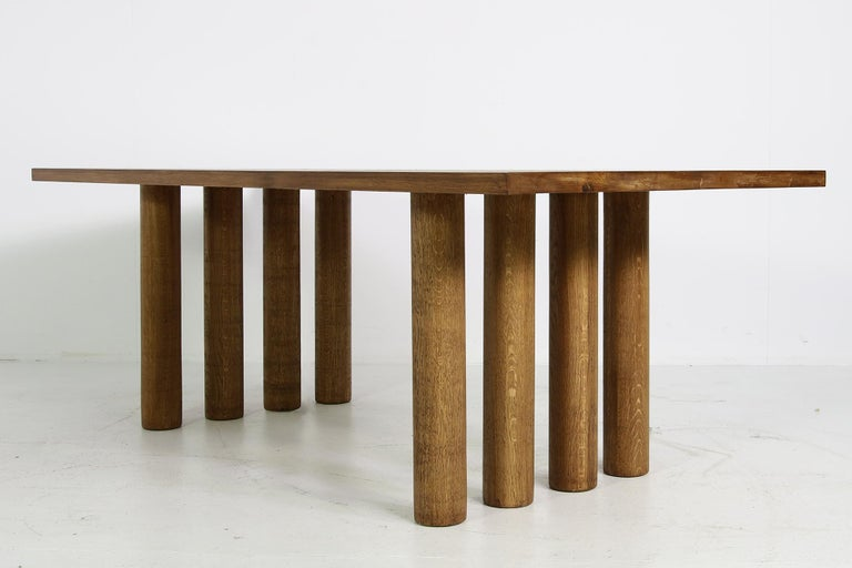 Modern Dining Room Table Solid Oak, Contemporary Nathan Lindberg Pedestal D For Sale 2