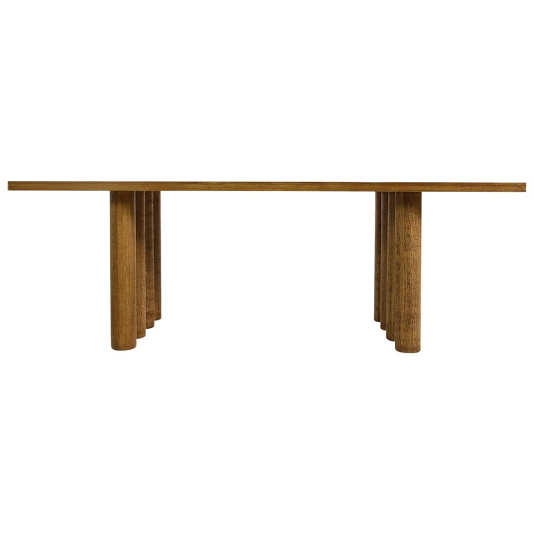 Modern Dining Room Table Solid Oak, Contemporary Nathan Lindberg Pedestal D For Sale