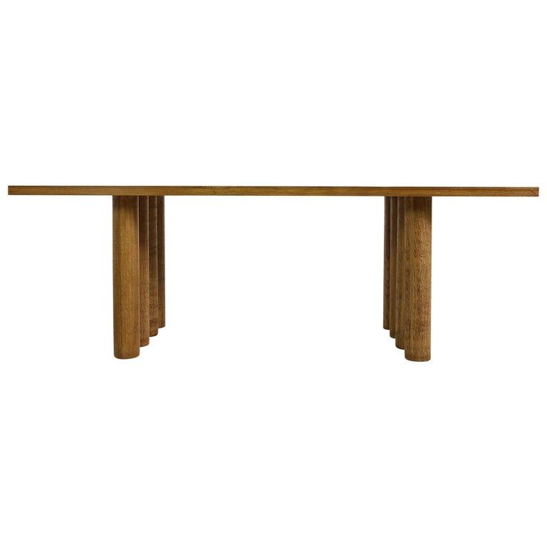 Modern Dining Room Table Solid Oak, Contemporary Nathan Lindberg Pedestal D For Sale