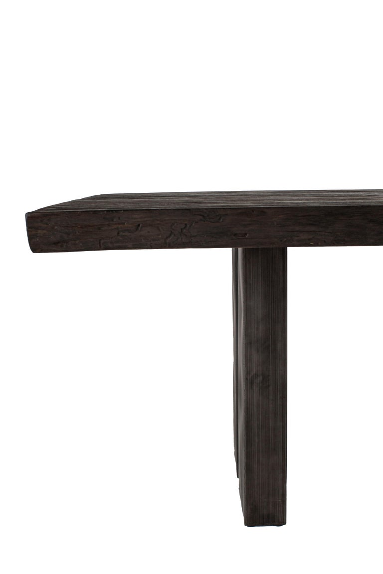 Industrial Modern Dining Table in Repurposed and Burnished Teak For Sale