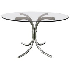 Mid Century Dining Table the Style of Giotto Stoppino Smoked Glass Chrome 1970s