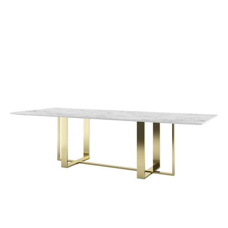 Moderner Esstisch aus italienischem Marmor und Messing plattiert 3