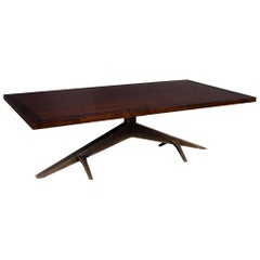 Modern Dining Table with Unique Metal Base Mozambique and Circassia Banded
