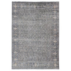 Modern Distressed Fine Weave Tabriz Design Rug in Blue and Taupe