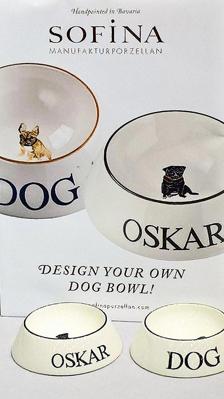 Modern Dog Bowl Porcelain Handpainted Customized Sofina Boutique Kitzbuehel For Sale 3