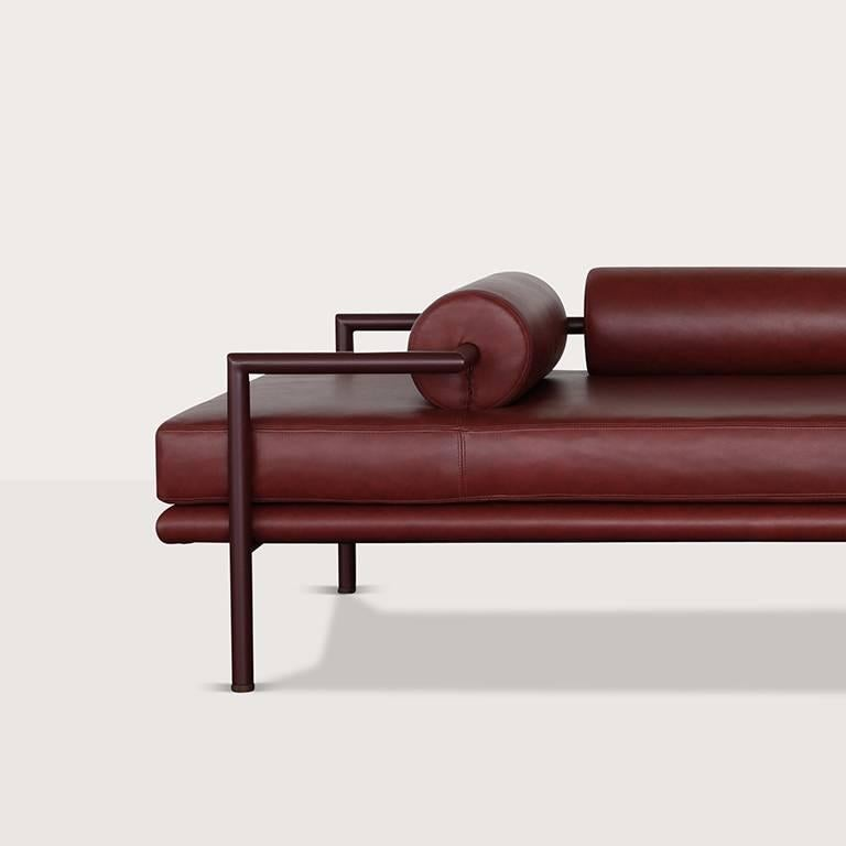 Mexican Modern Dorcia Daybed in Monochrome Burgundy Leather and Steel Frame by Luteca For Sale