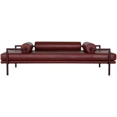 Modern Dorcia Daybed in Monochrome Burgundy Leather and Steel Frame by Luteca