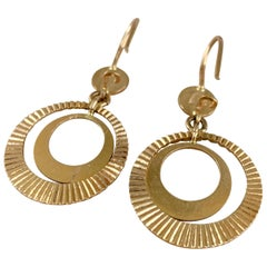Modern Double Hoop 18 Karat Yellow Gold Pierced Earrings