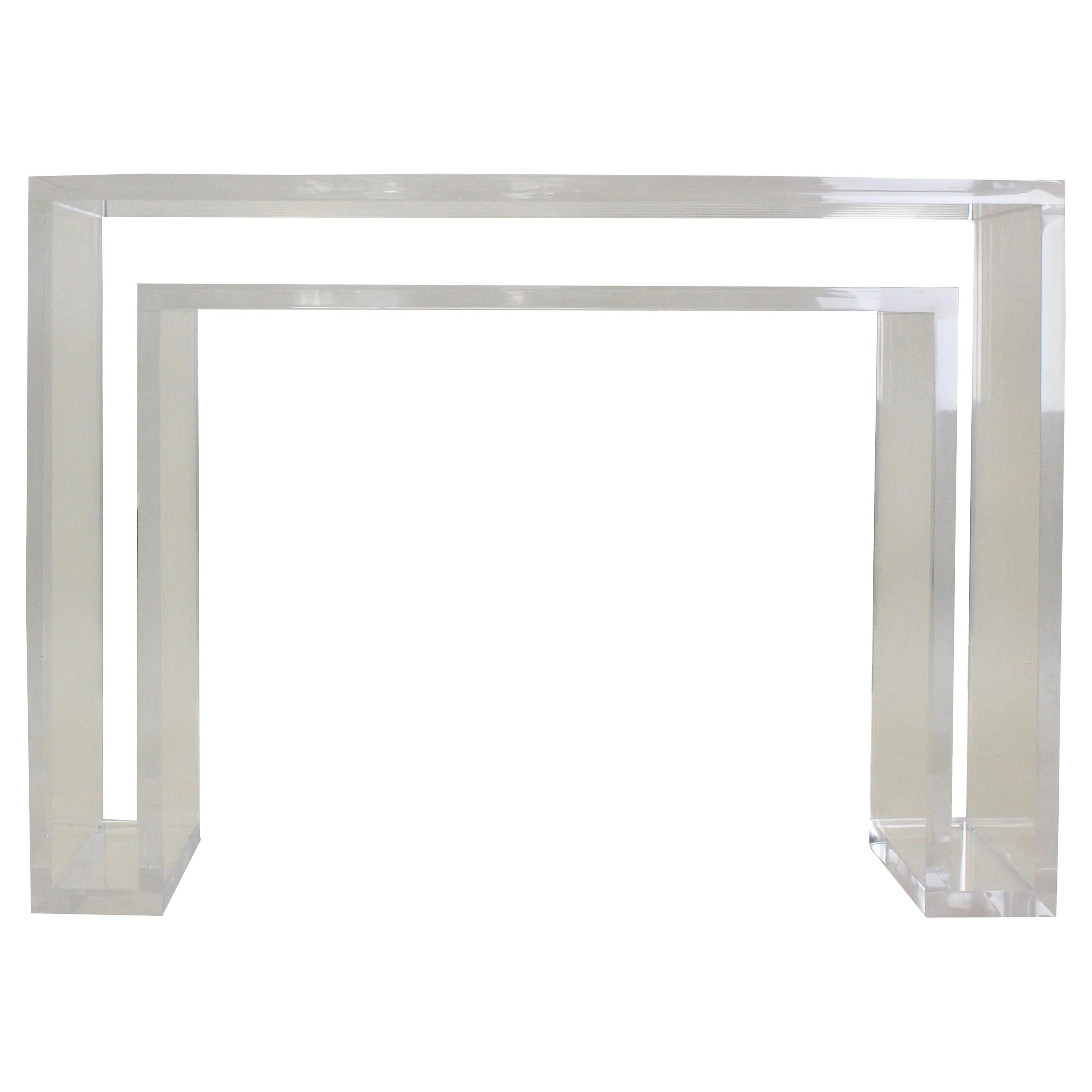 Modern Double Lucite Console Table
