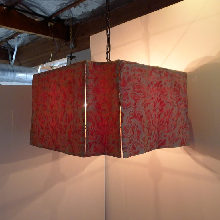 Contemporary Modern Draped Chandelier by Paul Marra in Fortuny For Sale
