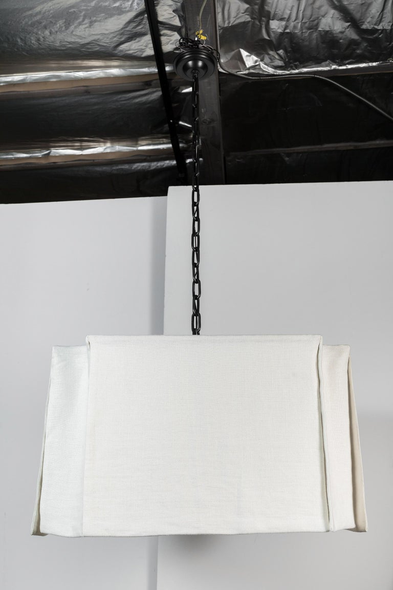 Modern Draped Chandelier by Paul Marra in Linen In New Condition For Sale In Los Angeles, CA