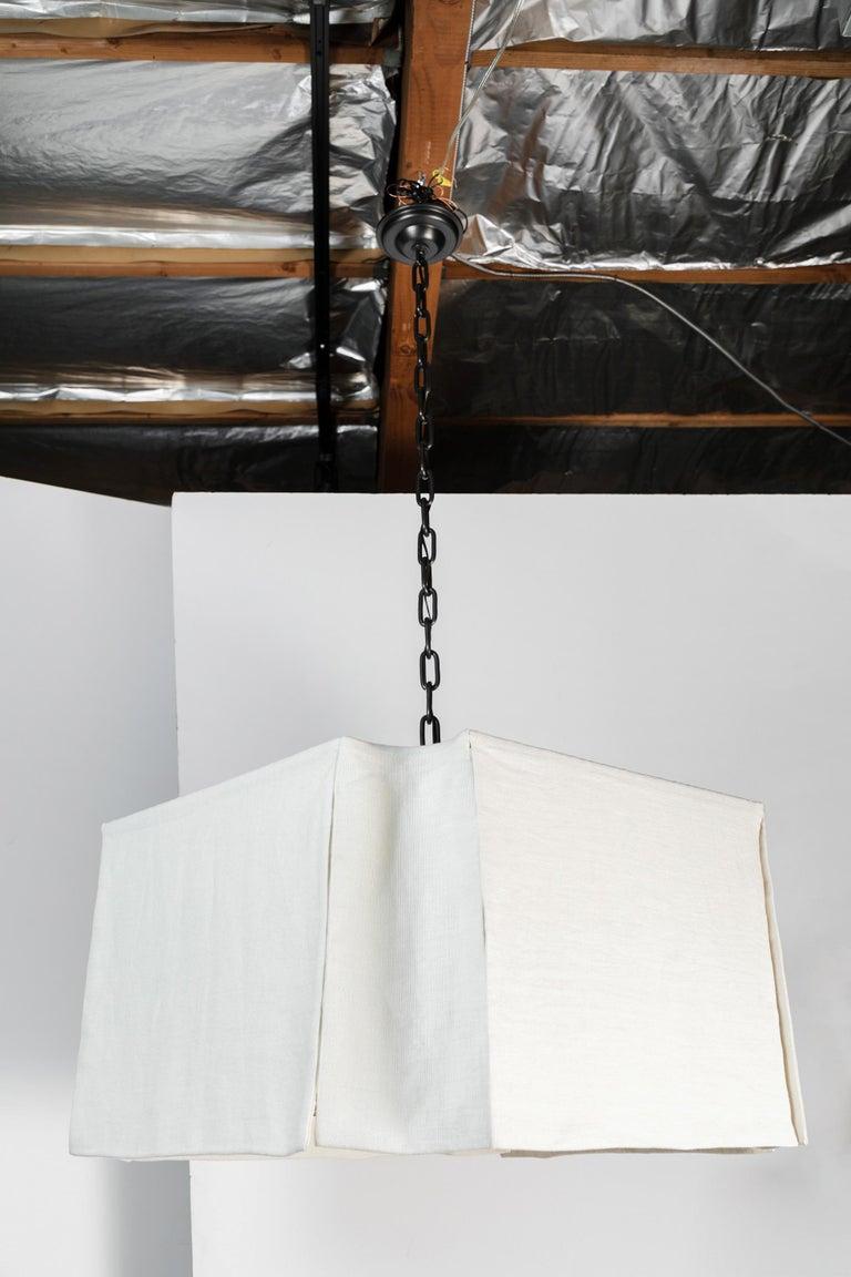 Contemporary Modern Draped Chandelier by Paul Marra in Linen For Sale