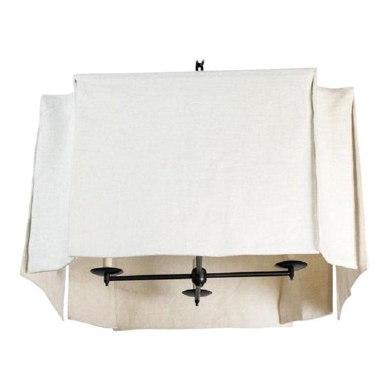 Modern Draped Chandelier by Paul Marra in Linen For Sale