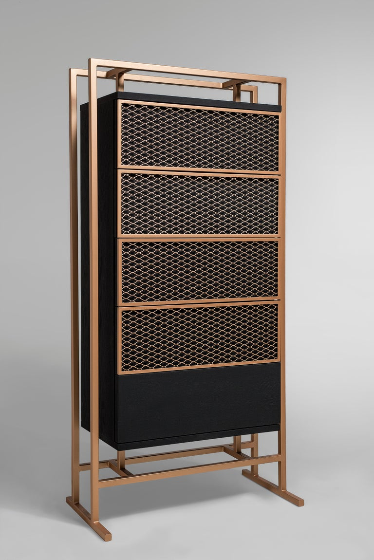 Excellent in size and style, the Ezera drawer is a perfect fit for any living room, narrow corridor and entry hall. Fabricated out of wood, metal, and designed by Larissa Batista, this modern cabinet is a master class of design that brings with it