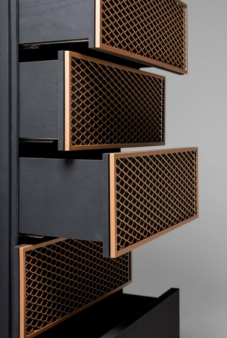 Modern Contemporary Chest of Drawers in Metal and Black Oak For Sale
